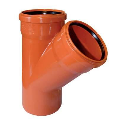Рыжий тройник ф110-110х45° Cosmoplast купить в Москве по низкой цене:  описание,